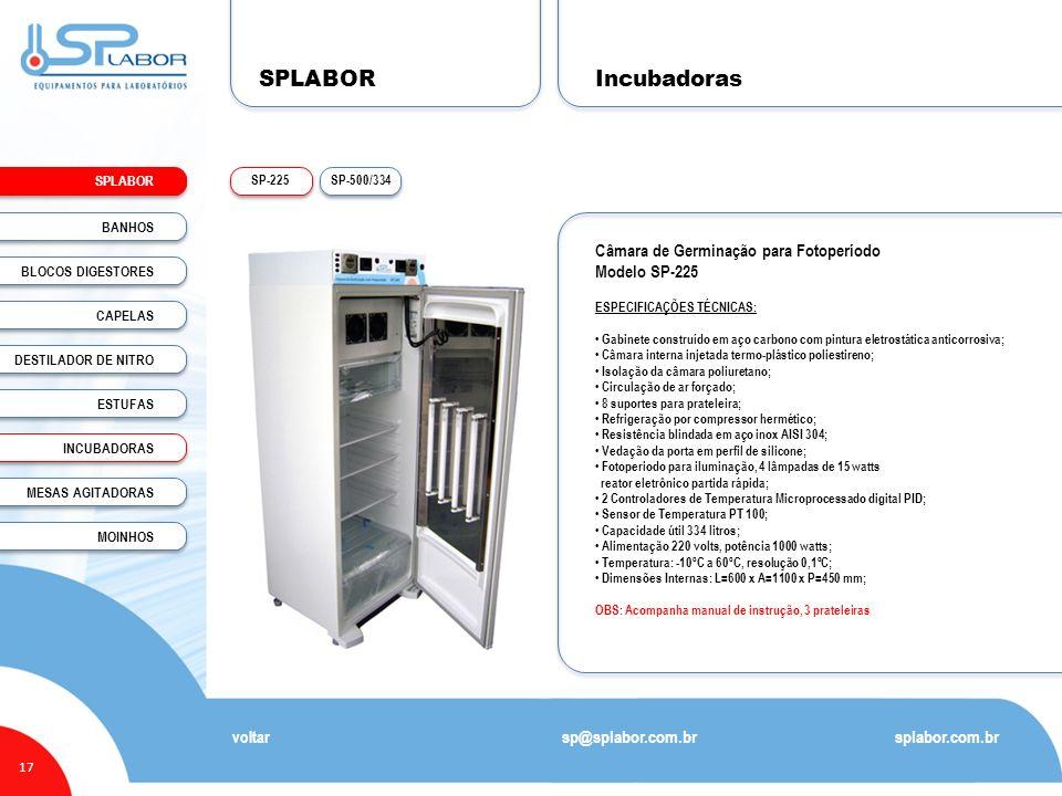 SPLABOR 17 Incubadoras splabor.com.br sp@splabor.com.br SP-500/334SP-225 voltar Câmara de Germinação para Fotoperíodo Modelo SP-225 ESPECIFICAÇÕES TÉC