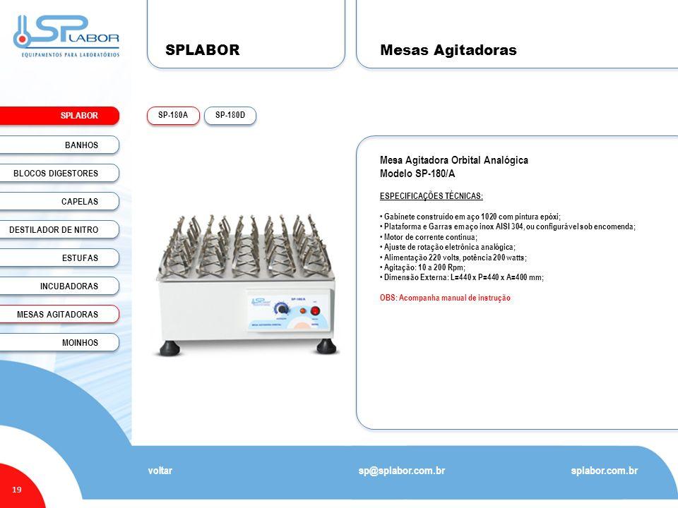 SPLABOR 19 Mesas Agitadoras splabor.com.br sp@splabor.com.br SP-180DSP-180A voltar Mesa Agitadora Orbital Analógica Modelo SP-180/A ESPECIFICAÇÕES TÉC