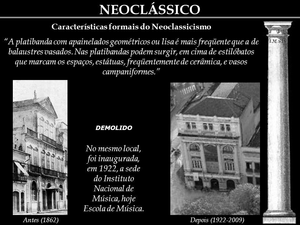 NEOCLÁSSICO Características formais do Neoclassicismo Ao lado de uma propensão a utilizar, nas artes visuais, aspectos da antiguidade greco-romana, o neoclassicismo caracterizava-se formalmente pelo purismo e pela sobriedade.