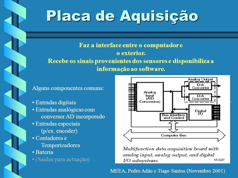 MEEA, Pedro Adão e Tiago Santos (Novembro 2001) Placa de Aquisição Alguns componentes comuns: Entradas digitais Entradas analógicas com conversor AD i