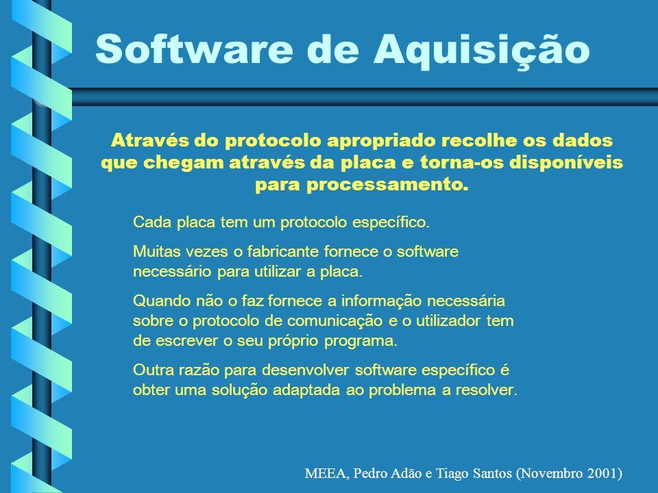 MEEA, Pedro Adão e Tiago Santos (Novembro 2001) Software de Aquisição Cada placa tem um protocolo específico. Muitas vezes o fabricante fornece o soft