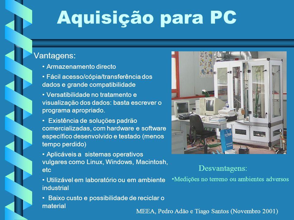 MEEA, Pedro Adão e Tiago Santos (Novembro 2001) Aquisição para PC Vantagens: Armazenamento directo Fácil acesso/cópia/transferência dos dados e grande