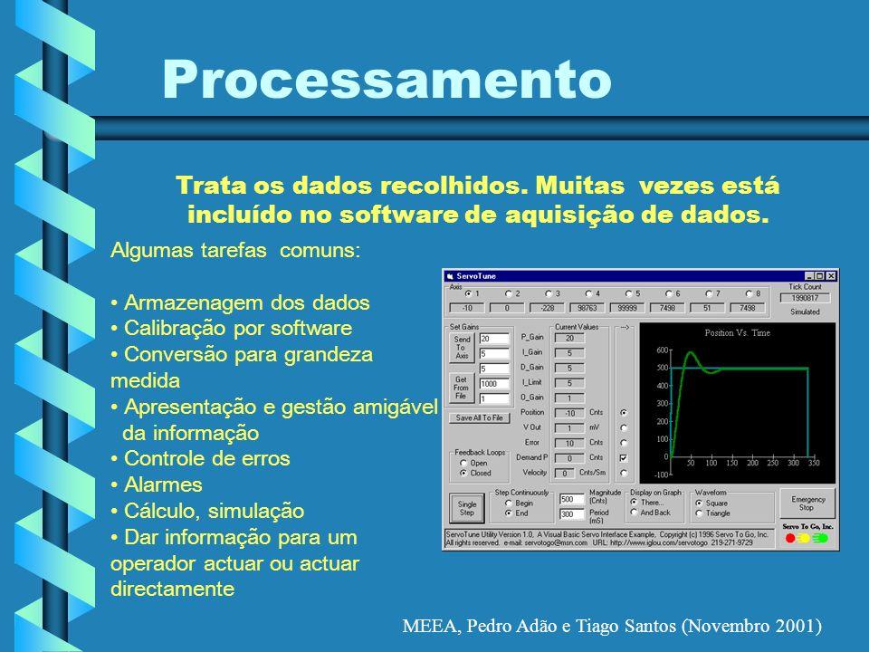 MEEA, Pedro Adão e Tiago Santos (Novembro 2001) Processamento Trata os dados recolhidos. Muitas vezes está incluído no software de aquisição de dados.