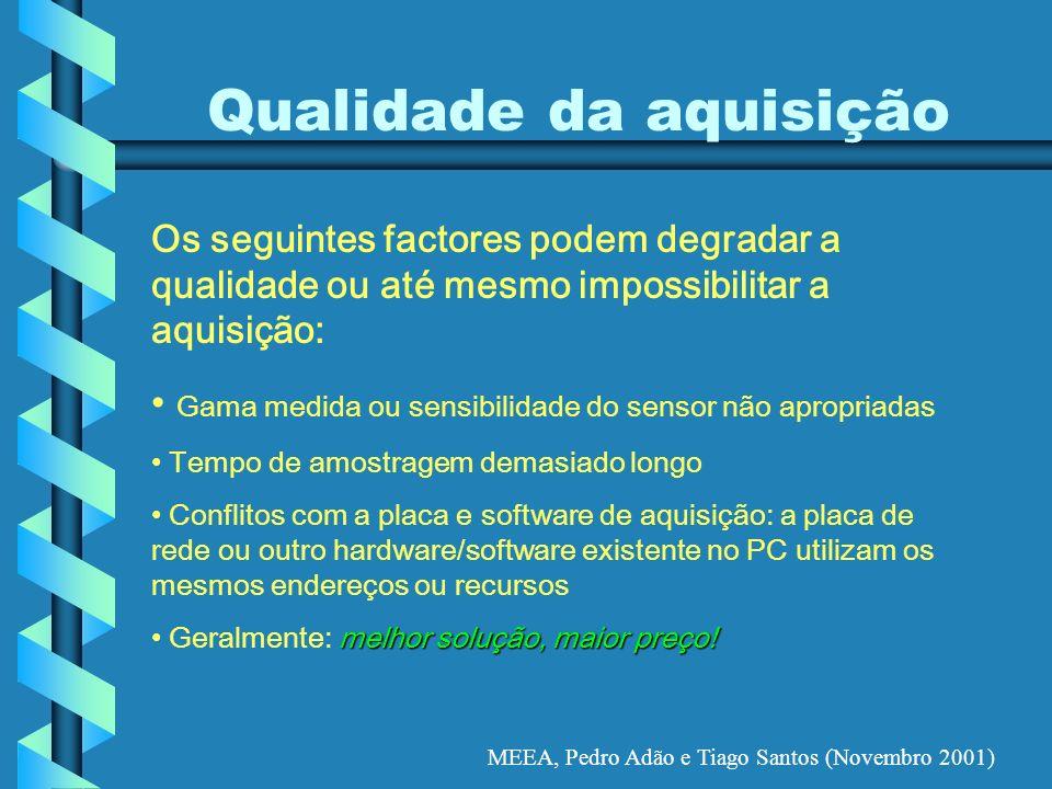 MEEA, Pedro Adão e Tiago Santos (Novembro 2001) Qualidade da aquisição Os seguintes factores podem degradar a qualidade ou até mesmo impossibilitar a
