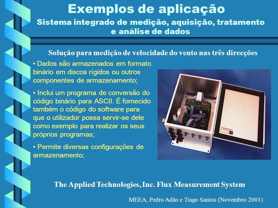 MEEA, Pedro Adão e Tiago Santos (Novembro 2001) Exemplos de aplicação Sistema integrado de medição, aquisição, tratamento e análise de dados The Appli