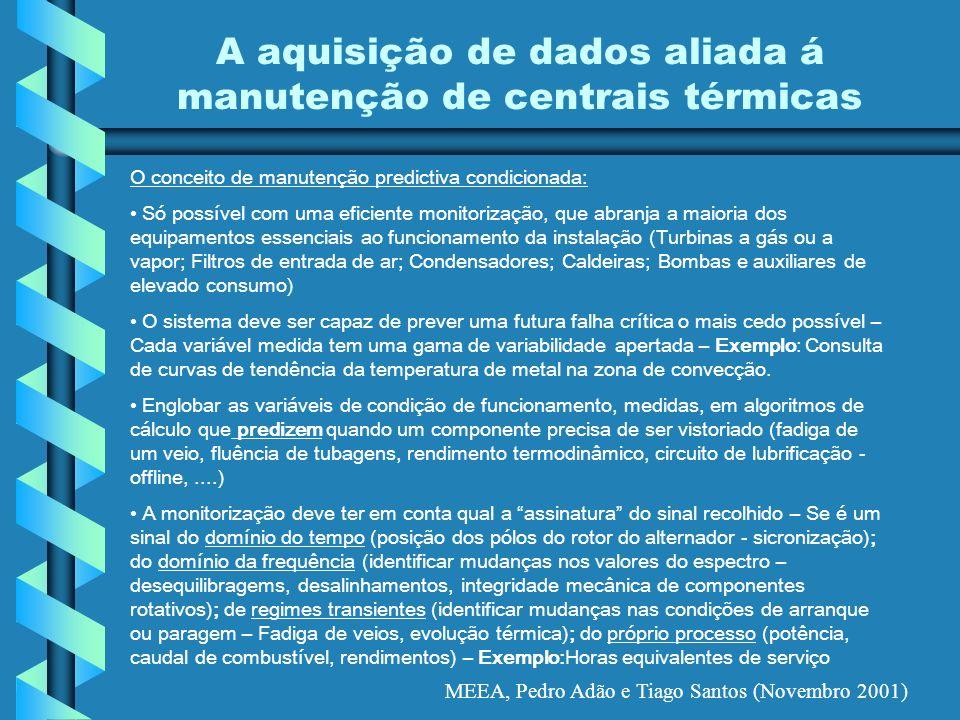 MEEA, Pedro Adão e Tiago Santos (Novembro 2001) A aquisição de dados aliada á manutenção de centrais térmicas O conceito de manutenção predictiva cond