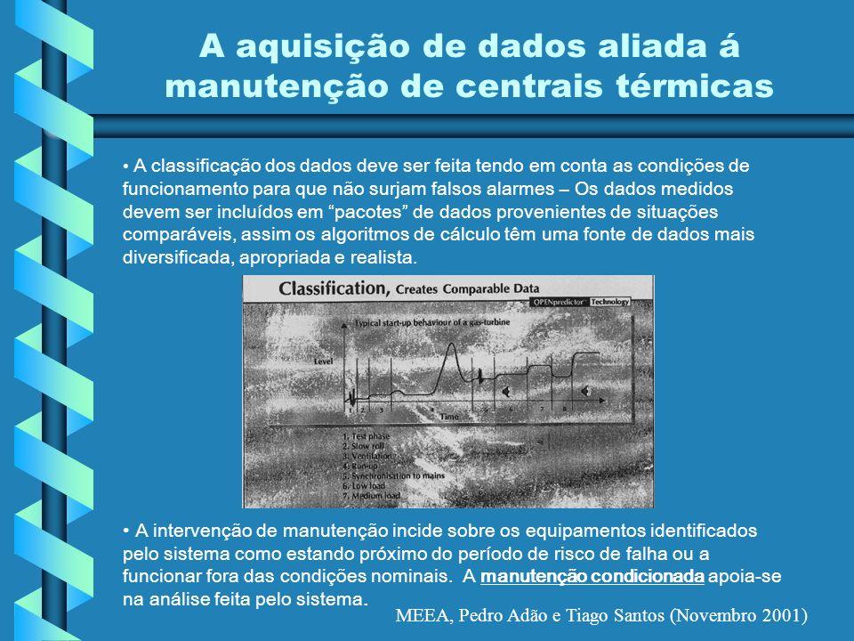 MEEA, Pedro Adão e Tiago Santos (Novembro 2001) A aquisição de dados aliada á manutenção de centrais térmicas A classificação dos dados deve ser feita