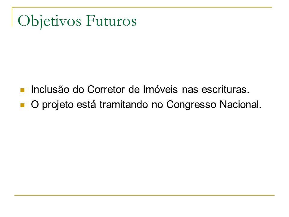Objetivos Futuros Inclusão do Corretor de Imóveis nas escrituras. O projeto está tramitando no Congresso Nacional.