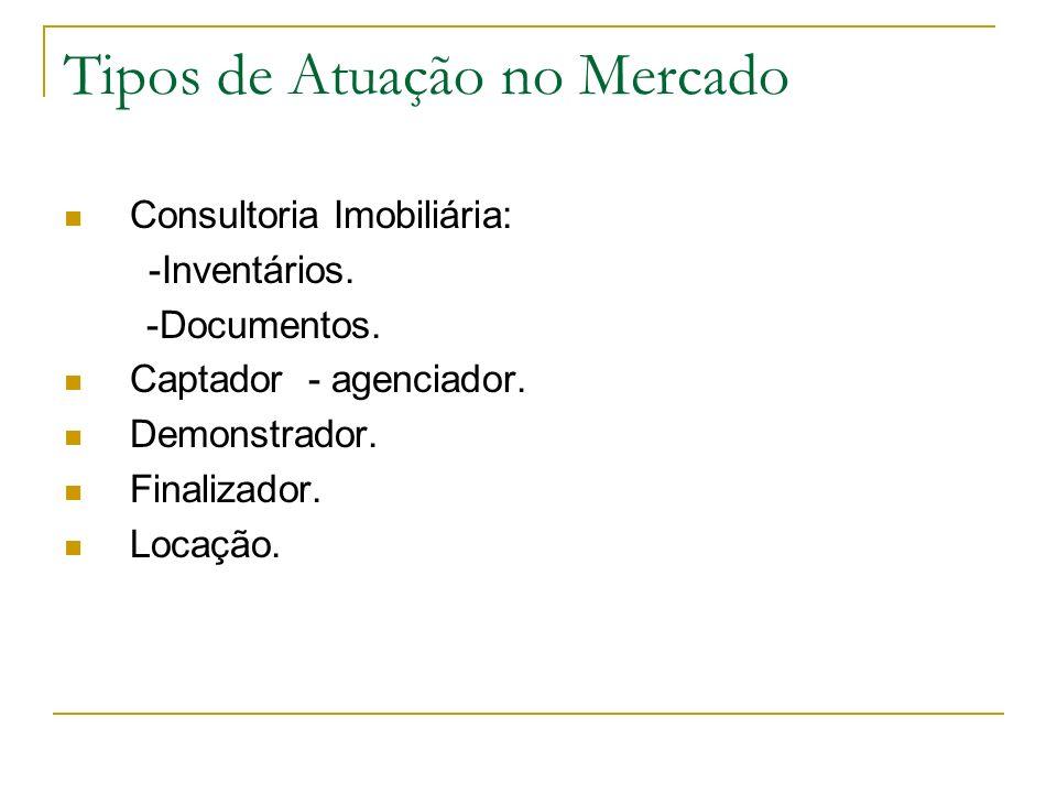 Tipos de Atuação no Mercado Consultoria Imobiliária: -Inventários. -Documentos. Captador - agenciador. Demonstrador. Finalizador. Locação.