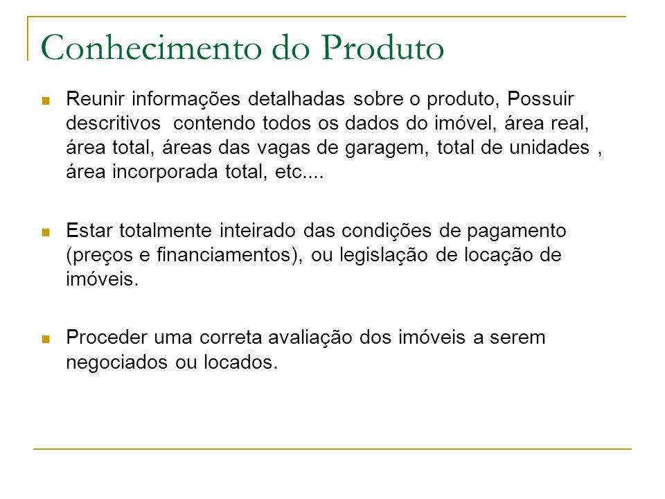 Conhecimento do Produto Reunir informações detalhadas sobre o produto, Possuir descritivos contendo todos os dados do imóvel, área real, área total, á