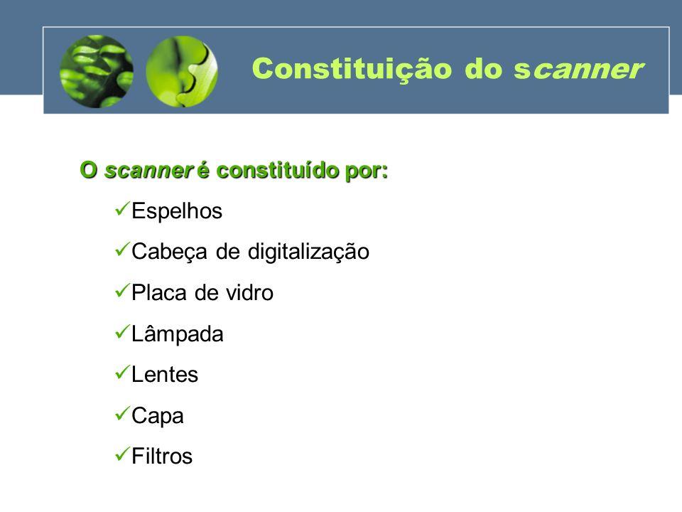 Constituição do scanner O scanner é constituído por: Espelhos Cabeça de digitalização Placa de vidro Lâmpada Lentes Capa Filtros