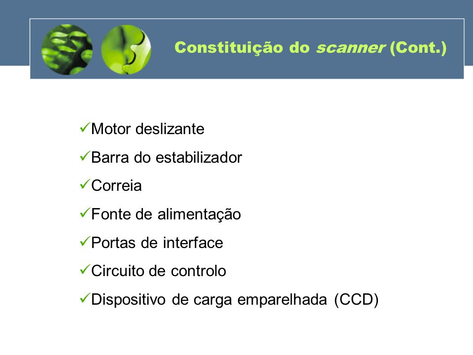 Constituição do scanner (Cont.) Motor deslizante Barra do estabilizador Correia Fonte de alimentação Portas de interface Circuito de controlo Disposit