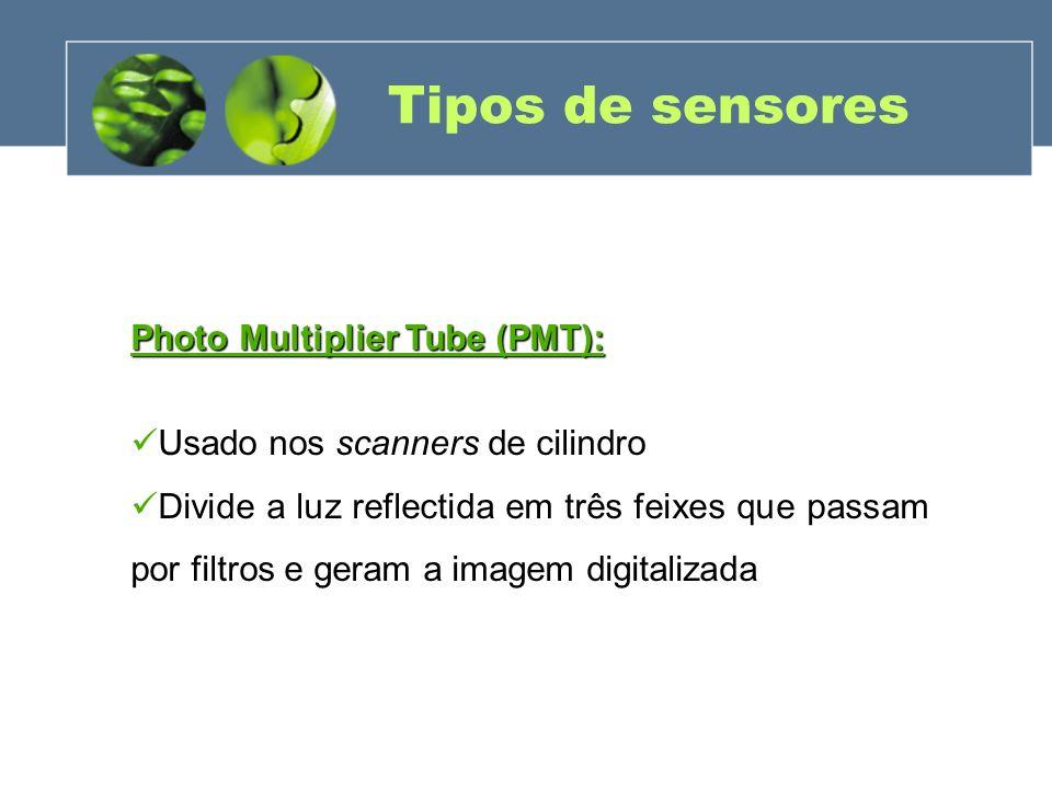 Tipos de sensores Photo Multiplier Tube (PMT): Usado nos scanners de cilindro Divide a luz reflectida em três feixes que passam por filtros e geram a