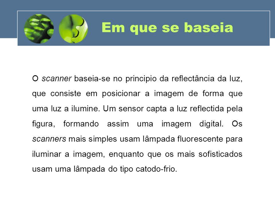 Tipos de sensores (Cont.) Contact Image Sensor (CIS): Usa LEDs vermelhos, azuis e verdes para produzir luz branca.