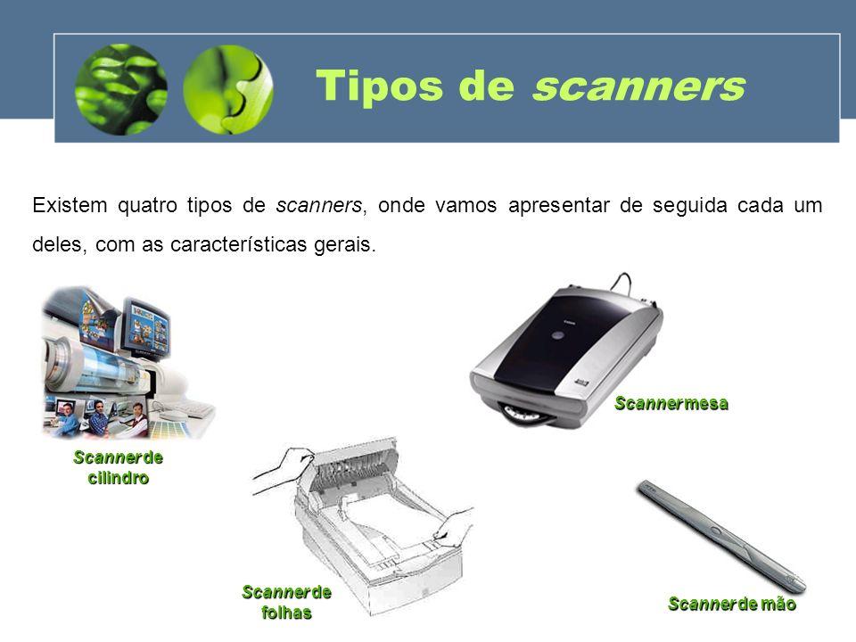 Tipos de scanners (Cont.) Scanner de mão - Scanner de mão - parecido com um rato bem grande, no qual se deve passar por cima do desenho ou texto a ser transferido para o computador.