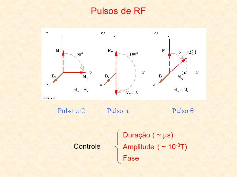 Pulsos de RF Pulso /2Pulso Controle Duração ( ~ s) Fase Amplitude ( ~ 10 -3 T)