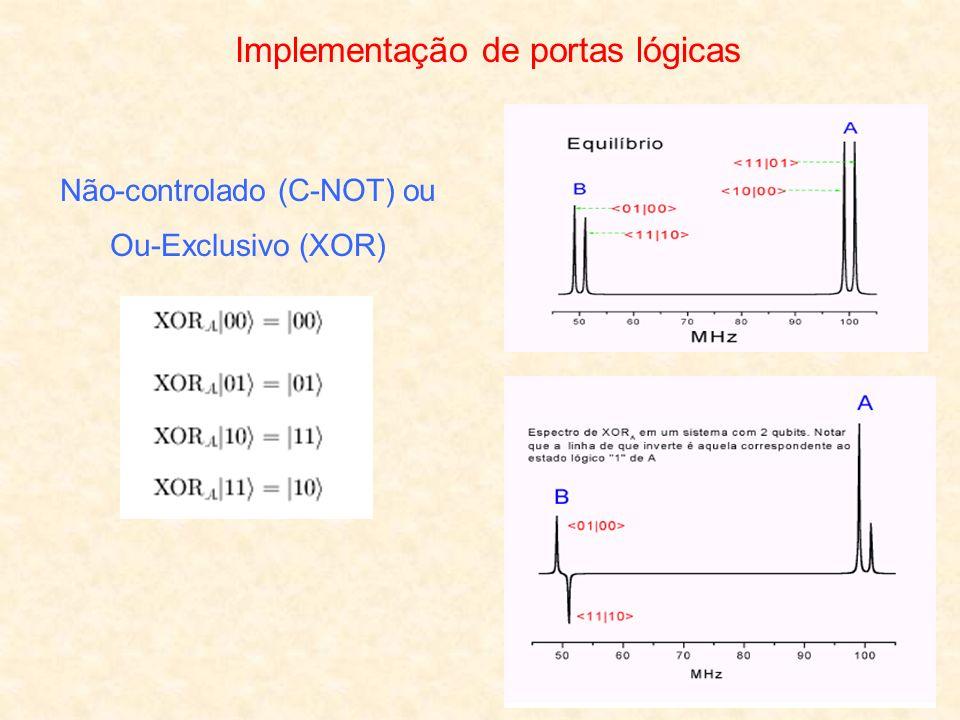Implementação de portas lógicas Não-controlado (C-NOT) ou Ou-Exclusivo (XOR)