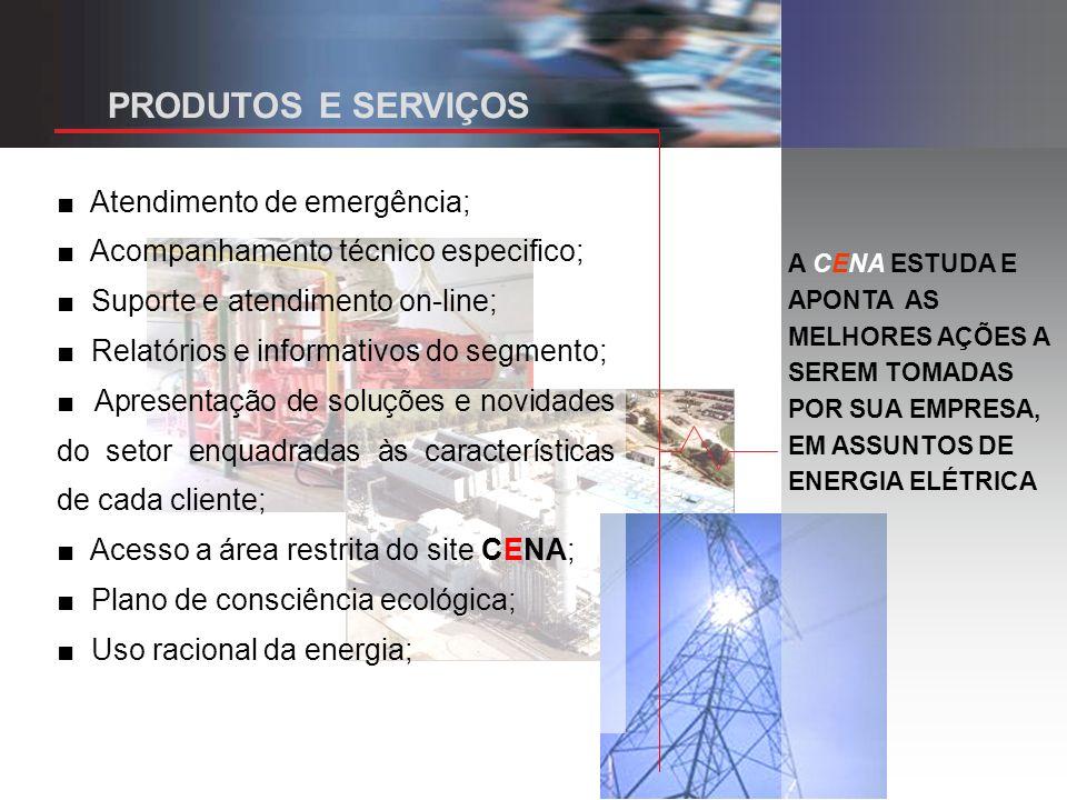 A CENA ESTUDA E APONTA AS MELHORES AÇÕES A SEREM TOMADAS POR SUA EMPRESA, EM ASSUNTOS DE ENERGIA ELÉTRICA Atendimento de emergência; Acompanhamento técnico especifico; Suporte e atendimento on-line; Relatórios e informativos do segmento; Apresentação de soluções e novidades do setor enquadradas às características de cada cliente; Acesso a área restrita do site CENA; Plano de consciência ecológica; Uso racional da energia; PRODUTOS E SERVIÇOS