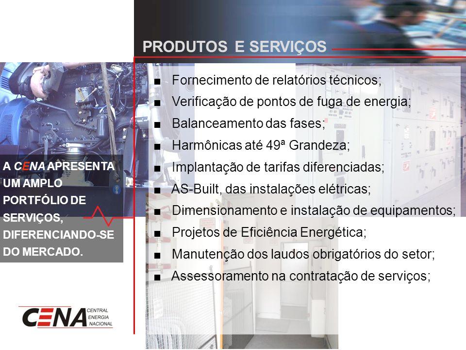 PRODUTOS E SERVIÇOS Fornecimento de relatórios técnicos; Verificação de pontos de fuga de energia; Balanceamento das fases; Harmônicas até 49ª Grandeza; Implantação de tarifas diferenciadas; AS-Built, das instalações elétricas; Dimensionamento e instalação de equipamentos; Projetos de Eficiência Energética; Manutenção dos laudos obrigatórios do setor; Assessoramento na contratação de serviços; A CENA APRESENTA UM AMPLO PORTFÓLIO DE SERVIÇOS, DIFERENCIANDO-SE DO MERCADO.