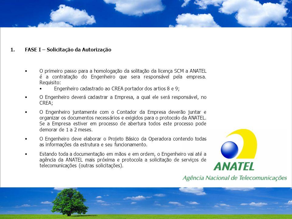 1.FASE I – Solicitação da Autorização O primeiro passo para a homologação da solitação da licença SCM a ANATEL é a contratação do Engenheiro que sera responsável pela empresa.