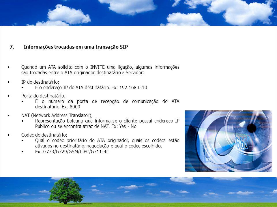 7.Informações trocadas em uma transação SIP Quando um ATA solicita com o INVITE uma ligação, algumas informações são trocadas entre o ATA originador, destinatário e Servidor: IP do destinatário; E o endereço IP do ATA destinatário.