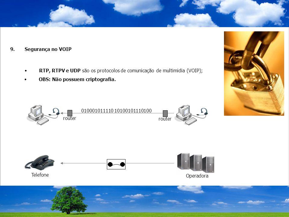 9.Segurança no VOIP RTP, RTPV e UDP são os protocolos de comunicação de multimidia (VOIP); 010001011110 10100101110100 router Telefone Operadora OBS: Não possuem criptografia.