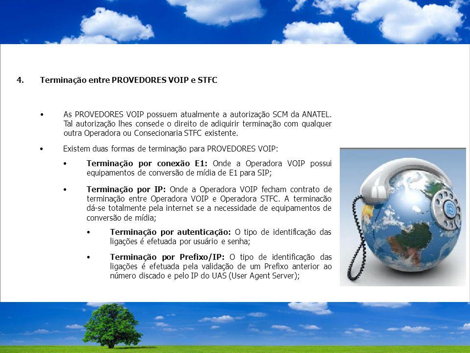 4.Terminação entre PROVEDORES VOIP e STFC As PROVEDORES VOIP possuem atualmente a autorização SCM da ANATEL.