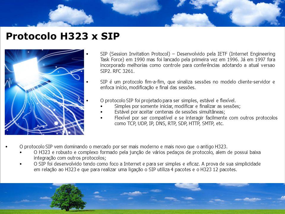 Protocolo H323 x SIP SIP (Session Invitation Protocol) – Desenvolvido pela IETF (Internet Engineering Task Force) em 1990 mas foi lancado pela primeira vez em 1996.