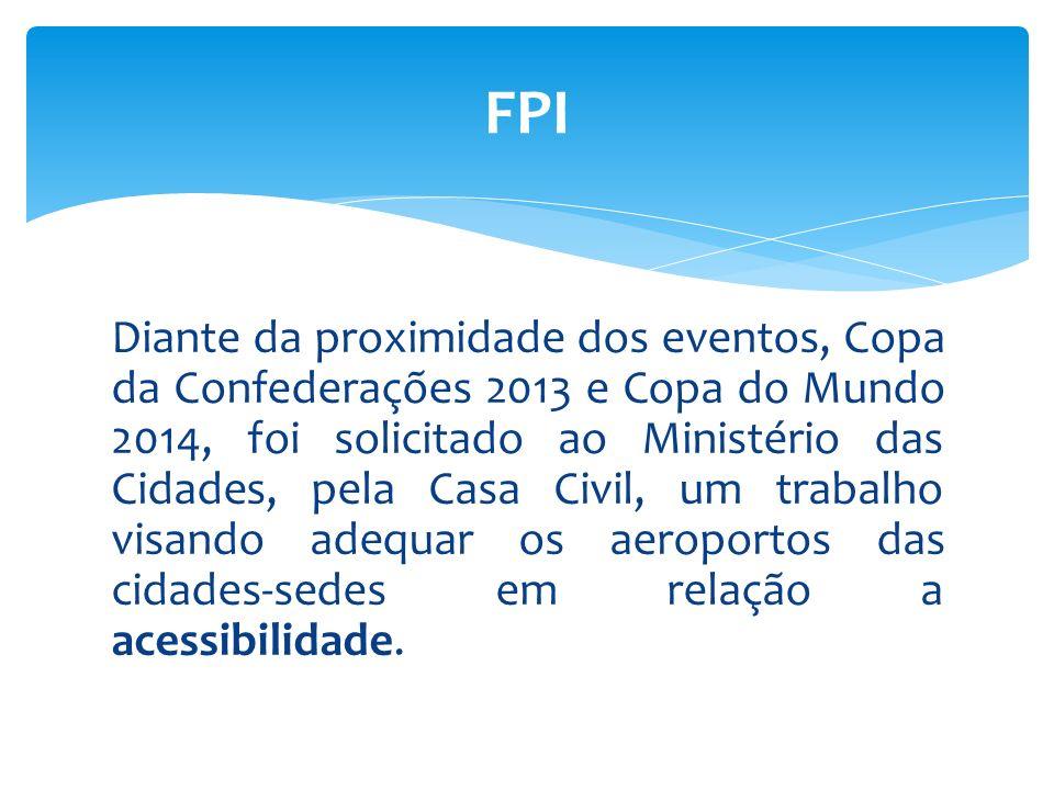 Diante da proximidade dos eventos, Copa da Confederações 2013 e Copa do Mundo 2014, foi solicitado ao Ministério das Cidades, pela Casa Civil, um trab
