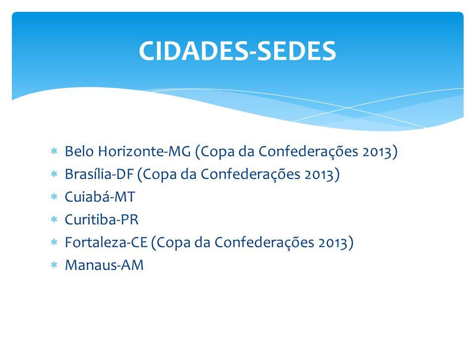 Belo Horizonte-MG (Copa da Confederações 2013) Brasília-DF (Copa da Confederações 2013) Cuiabá-MT Curitiba-PR Fortaleza-CE (Copa da Confederações 2013