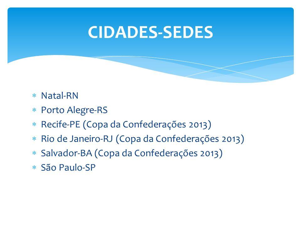Natal-RN Porto Alegre-RS Recife-PE (Copa da Confederações 2013) Rio de Janeiro-RJ (Copa da Confederações 2013) Salvador-BA (Copa da Confederações 2013