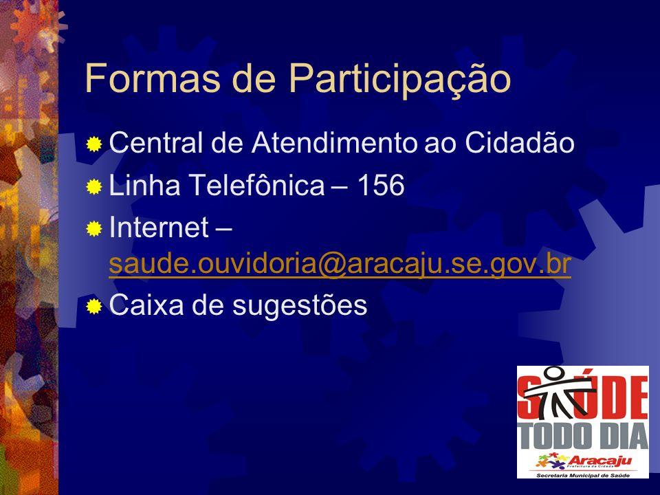Formas de Participação Central de Atendimento ao Cidadão Linha Telefônica – 156 Internet – saude.ouvidoria@aracaju.se.gov.br saude.ouvidoria@aracaju.se.gov.br Caixa de sugestões