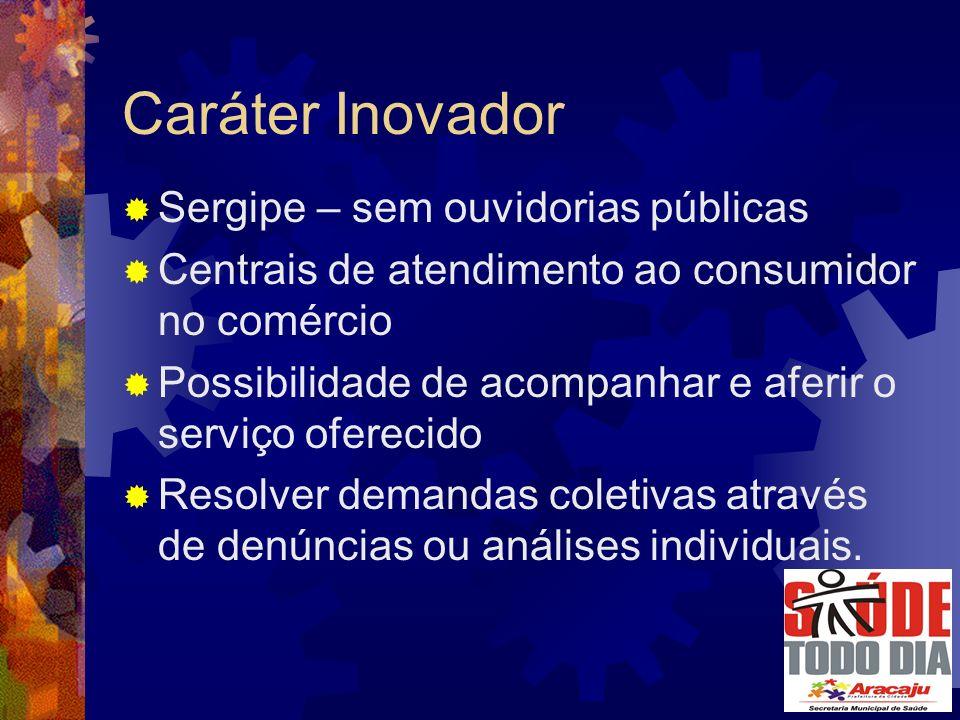 Sergipe – sem ouvidorias públicas Centrais de atendimento ao consumidor no comércio Possibilidade de acompanhar e aferir o serviço oferecido Resolver demandas coletivas através de denúncias ou análises individuais.