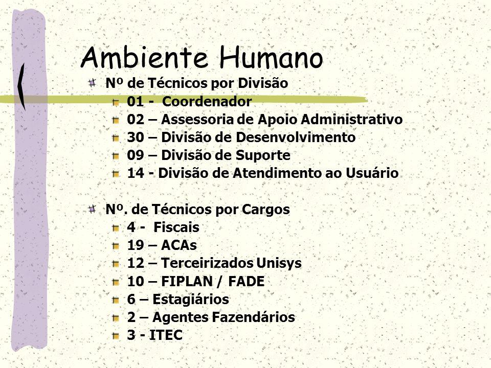 Ambiente Humano Nº de Técnicos por Divisão 01 - Coordenador 02 – Assessoria de Apoio Administrativo 30 – Divisão de Desenvolvimento 09 – Divisão de Su