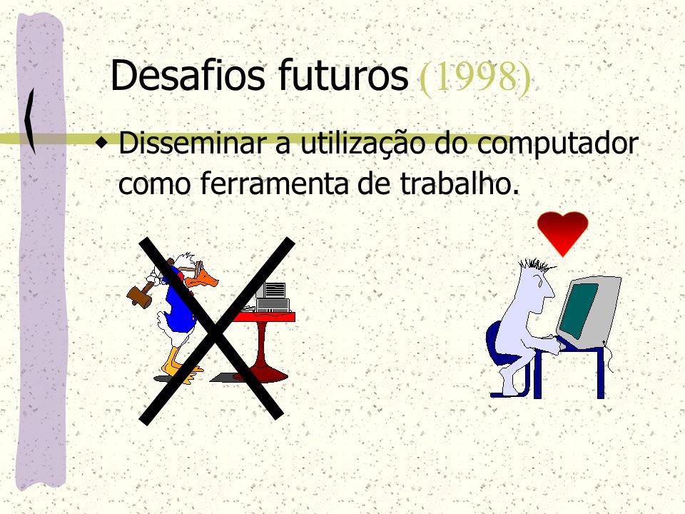 Desafios futuros (1998) Disseminar a utilização do computador como ferramenta de trabalho.