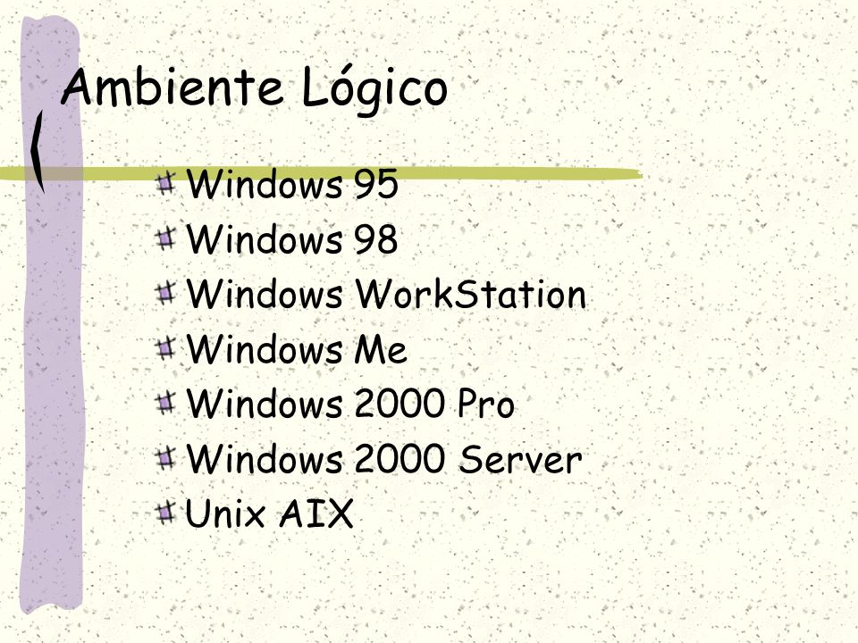 Ambiente Lógico Windows 95 Windows 98 Windows WorkStation Windows Me Windows 2000 Pro Windows 2000 Server Unix AIX