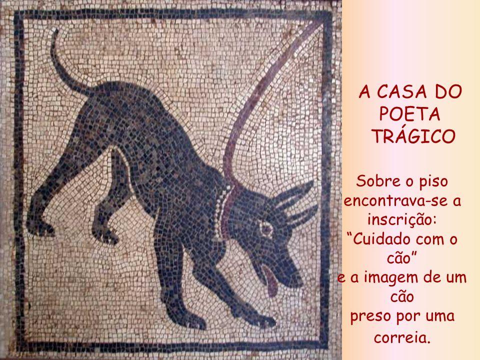 A CASA DO POETA TRÁGICO Sobre o piso encontrava-se a inscrição: Cuidado com o cão e a imagem de um cão preso por uma correia.