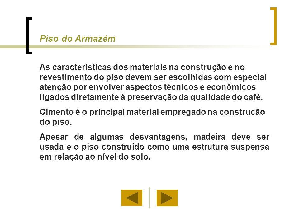 Piso do Armazém As características dos materiais na construção e no revestimento do piso devem ser escolhidas com especial atenção por envolver aspect