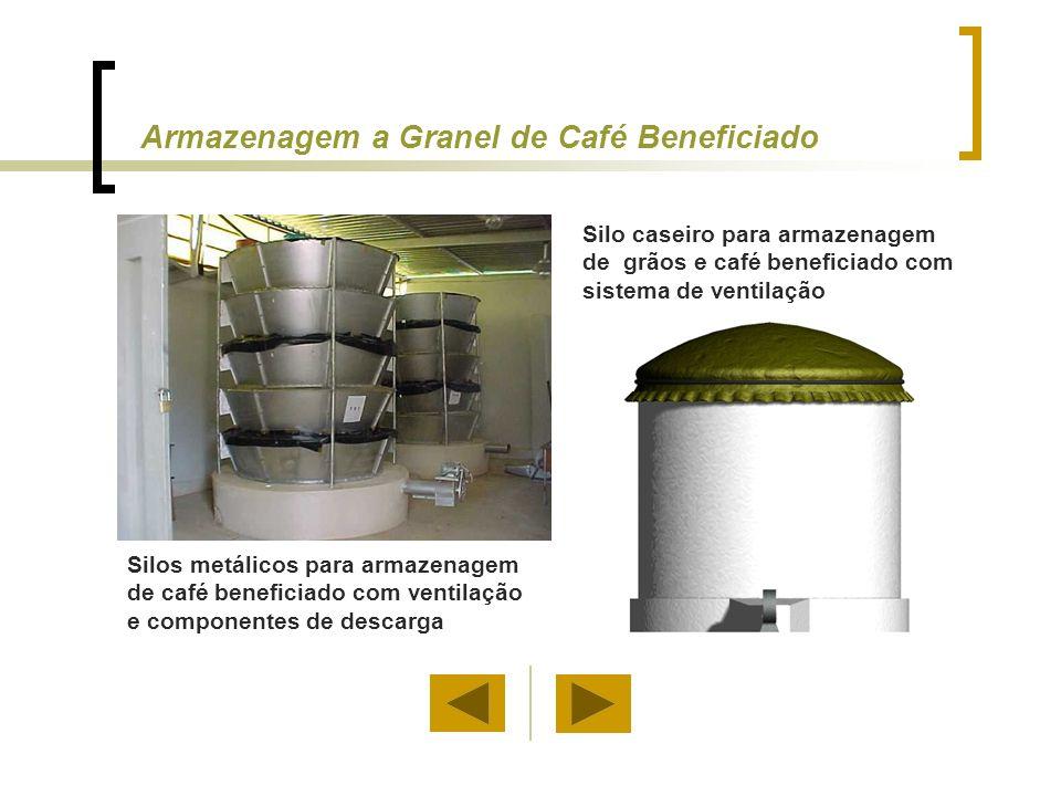 Silos metálicos para armazenagem de café beneficiado com ventilação e componentes de descarga Silo caseiro para armazenagem de grãos e café beneficiad