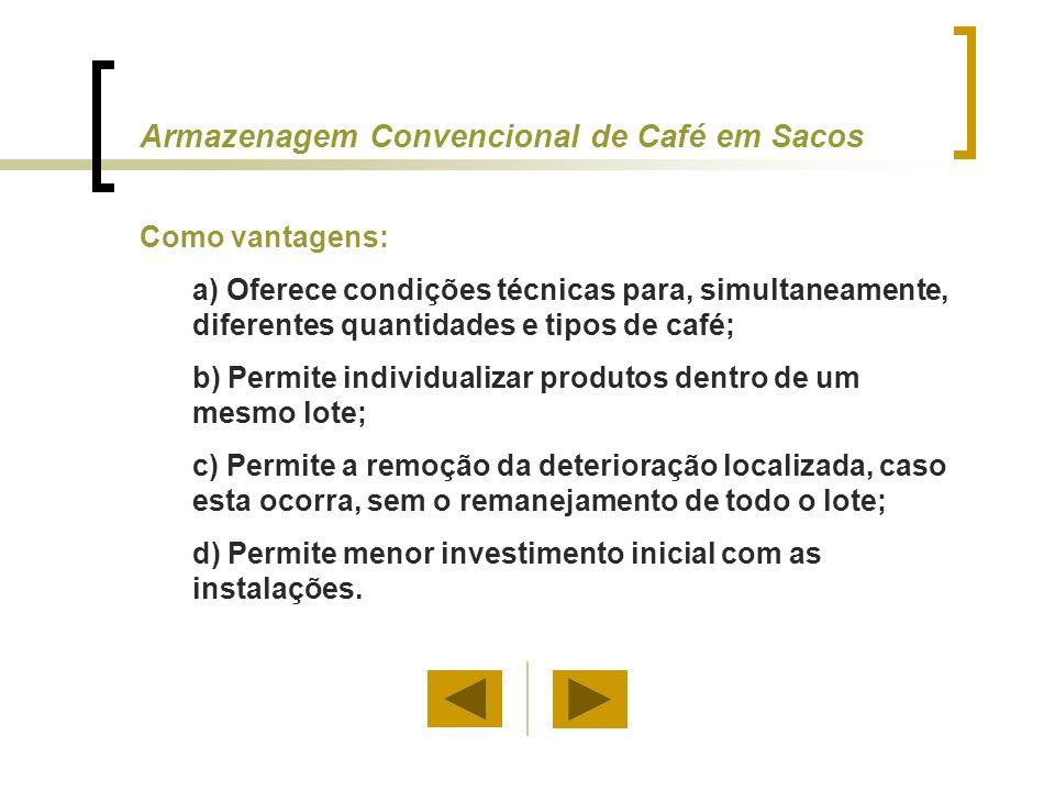 Como desvantagens: a) Elevado custo da sacaria; b) Elevado custo de manuseio, por demandar muita mão-de-obra; c) Necessidade de muito espaço por tonelada armazenada; d) O processo de branqueamento e a redução na massa específica do produto reduzirá a qualidade do café.