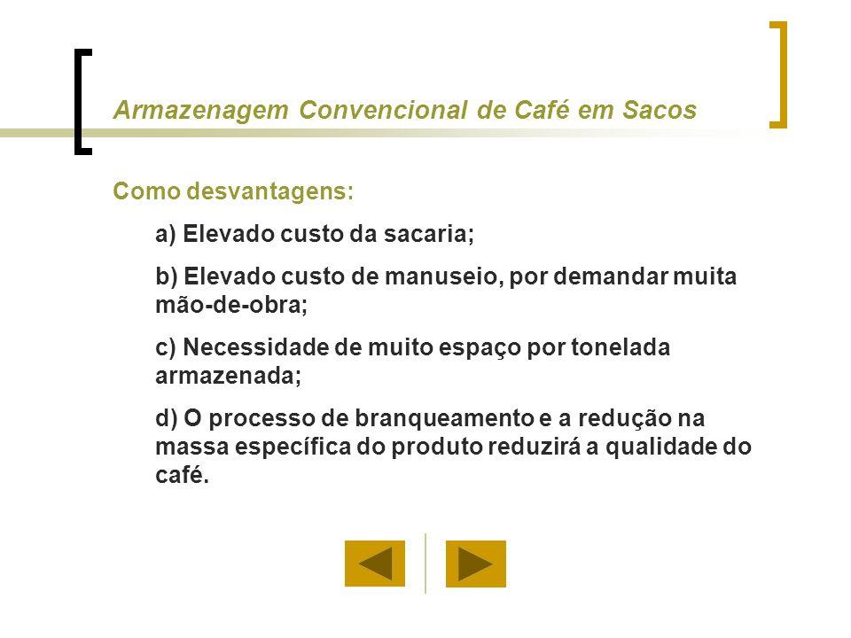 Texto original Uma objeção ao sistema de armazenagem a granel de café beneficiado é a dificuldade de realizar inventários do produto armazenado.