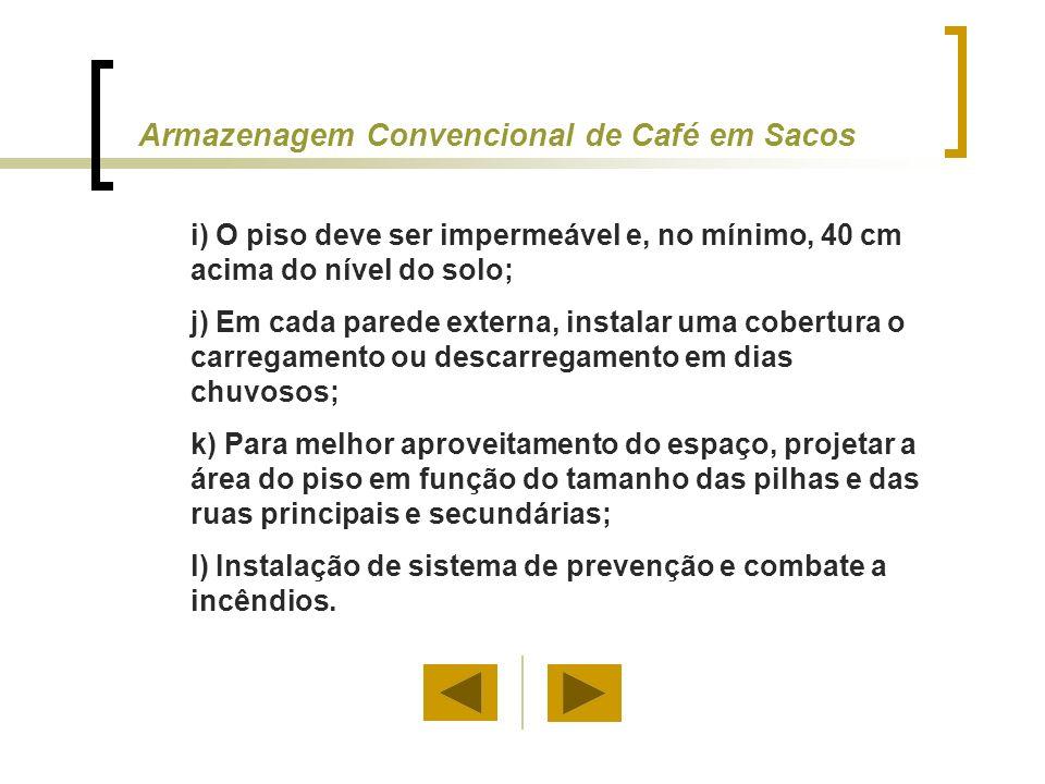 Armazenagem Convencional de Café Beneficiado em Sacos Um saco de 60 kg é uma unidade que pode ser adaptada ao manuseio e comercialização em pequena escala.