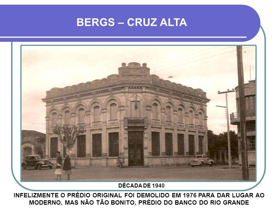 ALGUMAS AGÊNCIAS DO Bco PELOTENSE 1- Pelotas 2- Cruz Alta 3- Santa Cruz do Sul 4- Santa Maria 5- Alegrete 6- Porto Alegre 7- Bagé 8- São Gabriel 9- Gu