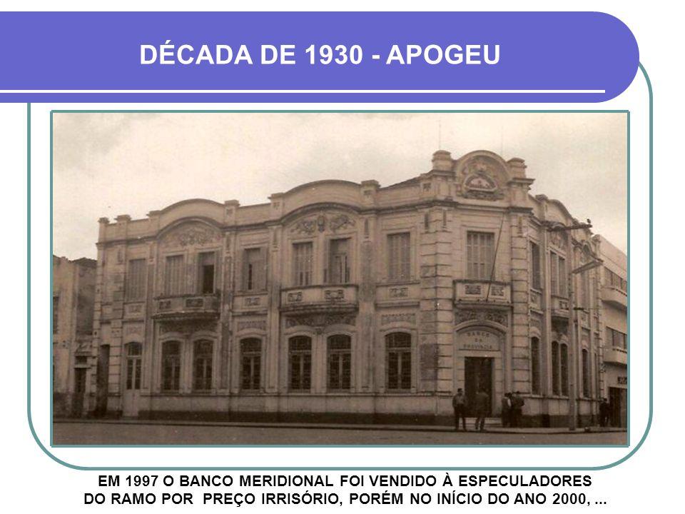 BANCO MERIDIONAL HOUVE ENTÃO FUSÃO DO BANCOS SUL BRASILEIRO E HABITASUL, FORMANDO O BANCO MERIDIONAL BANCO SUL BRASILEIRO BANCO HABITASUL +