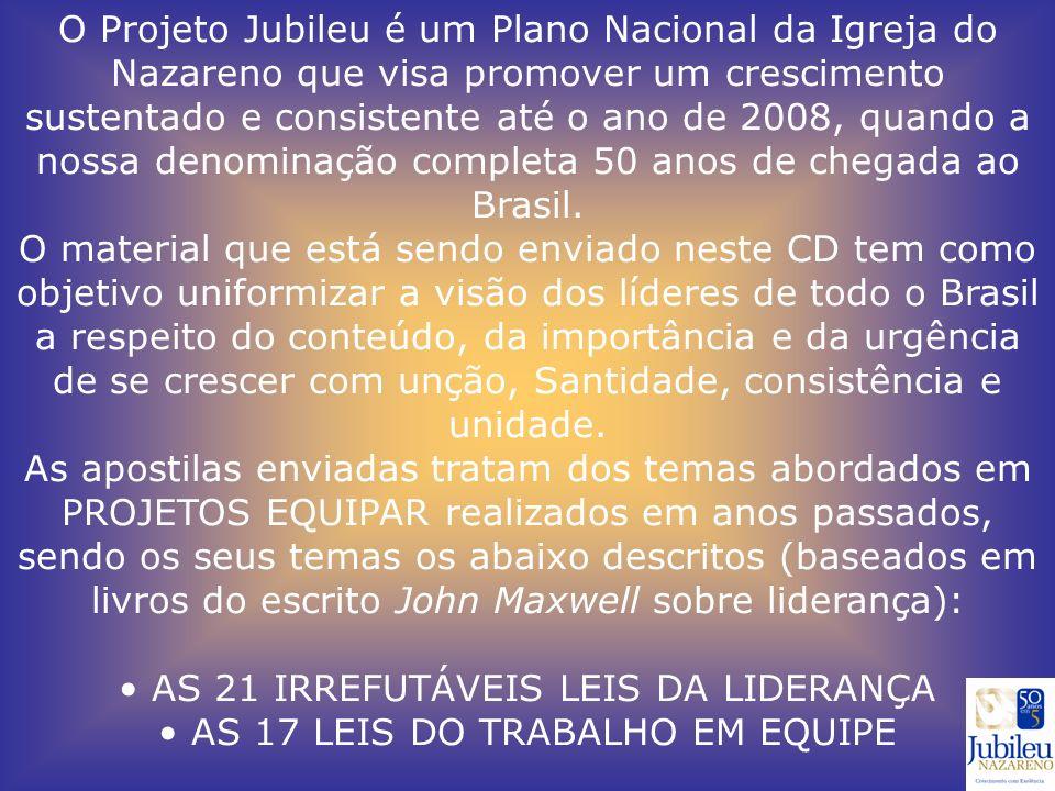 O Projeto Jubileu é um Plano Nacional da Igreja do Nazareno que visa promover um crescimento sustentado e consistente até o ano de 2008, quando a nossa denominação completa 50 anos de chegada ao Brasil.