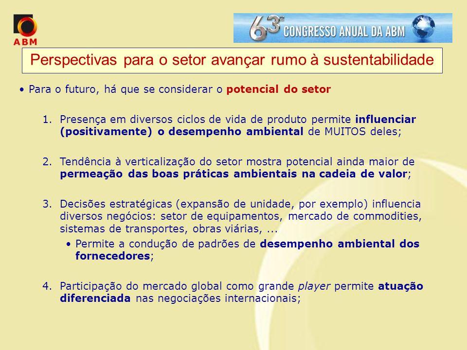 Perspectivas para o setor avançar rumo à sustentabilidade Para o futuro, há que se considerar o potencial do setor 1.Presença em diversos ciclos de vi