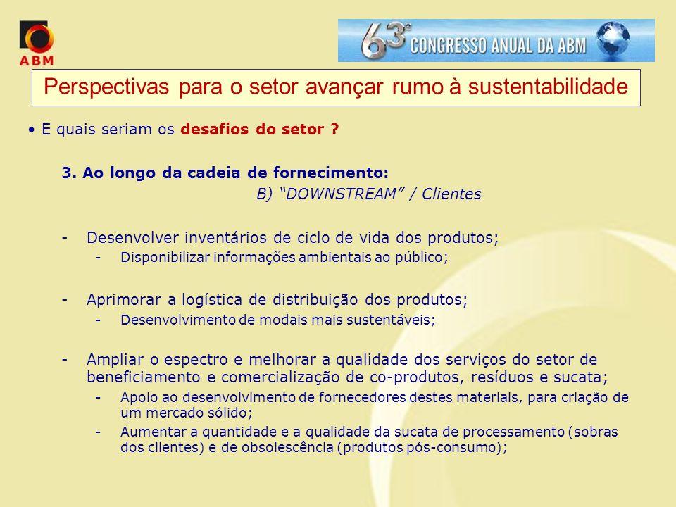Perspectivas para o setor avançar rumo à sustentabilidade E quais seriam os desafios do setor ? 3. Ao longo da cadeia de fornecimento: B) DOWNSTREAM /