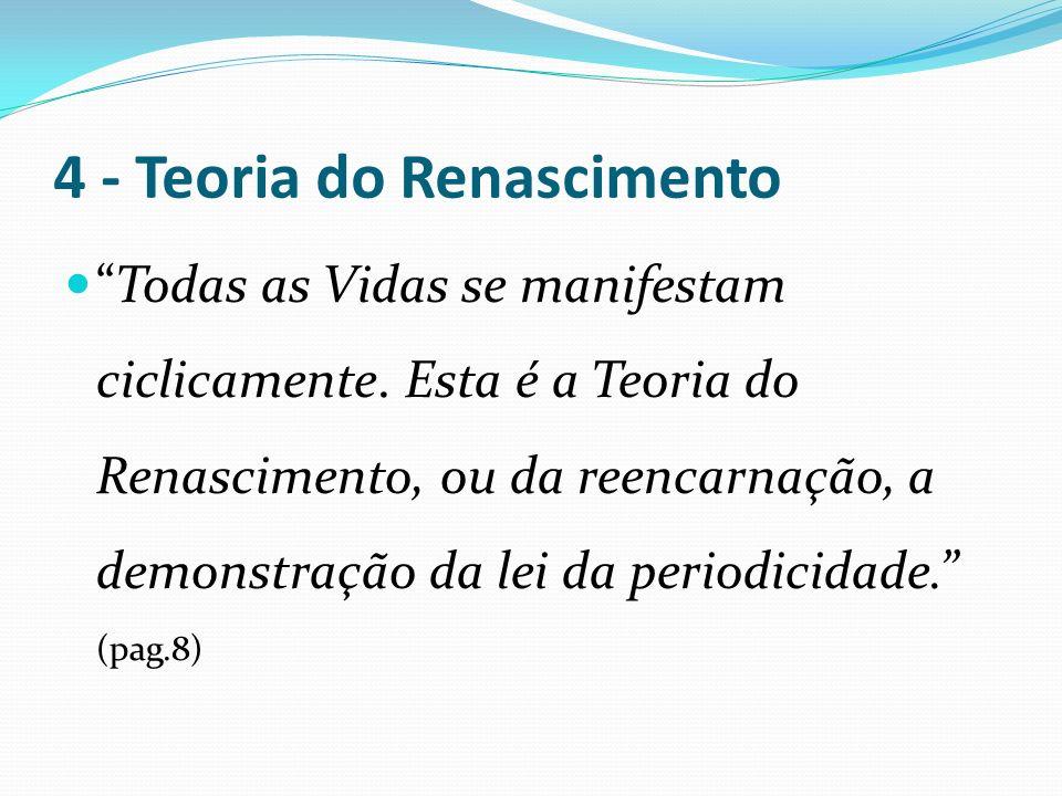 4 - Teoria do Renascimento Todas as Vidas se manifestam ciclicamente. Esta é a Teoria do Renascimento, ou da reencarnação, a demonstração da lei da pe