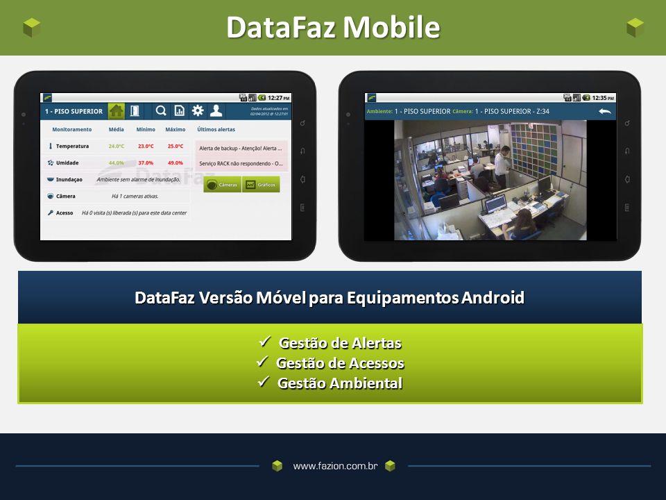 DataFaz Mobile Gestão de Alertas Gestão de Alertas Gestão de Acessos Gestão de Acessos Gestão Ambiental Gestão Ambiental DataFaz Versão Móvel para Equipamentos Android