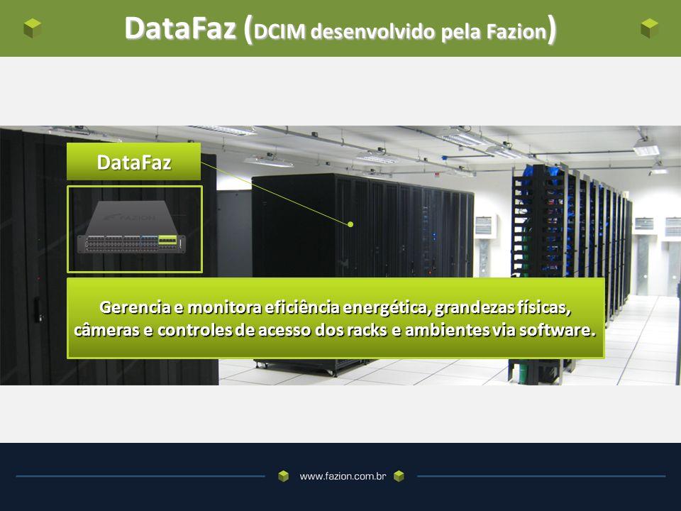 DataFaz ( DCIM desenvolvido pela Fazion ) DataFaz Gerencia e monitora eficiência energética, grandezas físicas, câmeras e controles de acesso dos racks e ambientes via software.